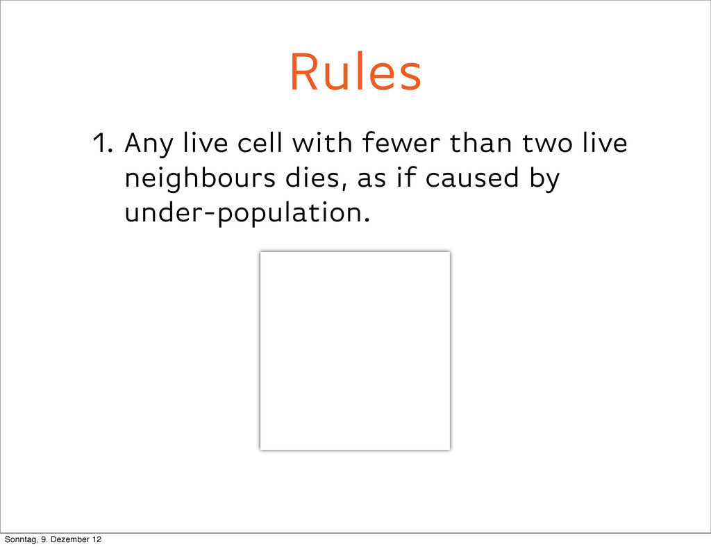 1. Any live cell with fewer than two live neigh...