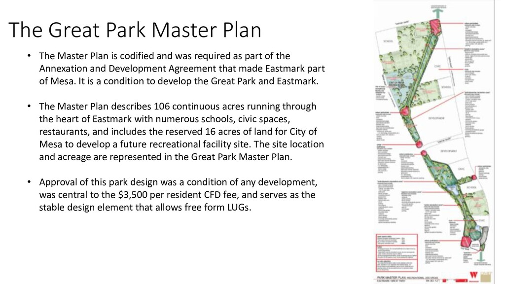 The Great Park Master Plan • The Master Plan is...
