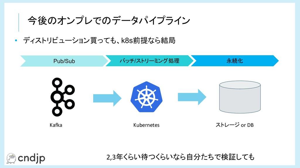 今後のオンプレでのデータパイプライン • ディストリビューション買っても、k8s前提なら結局 ...