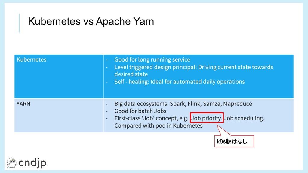 Kubernetes vs Apache Yarn k8s版はなし