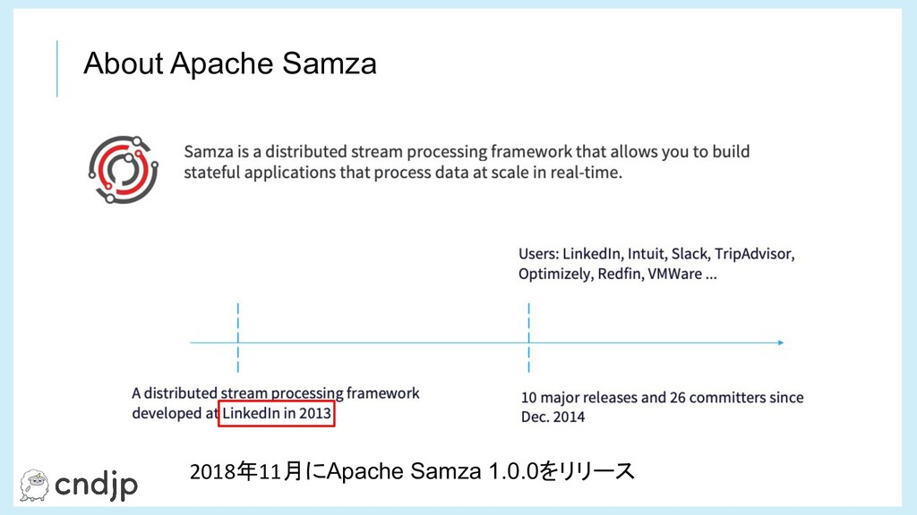About Apache Samza 2018年11月にApache Samza 1.0.0を...