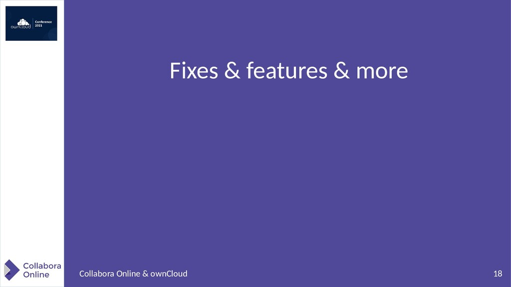 18 Collabora Online & ownCloud Fixes & features...