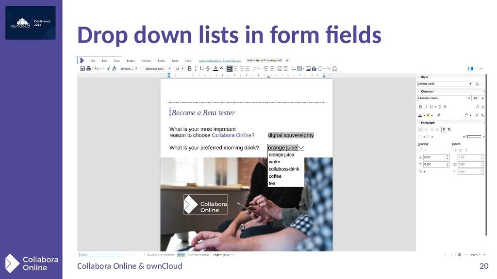 Collabora Online & ownCloud 20 Drop down lists ...