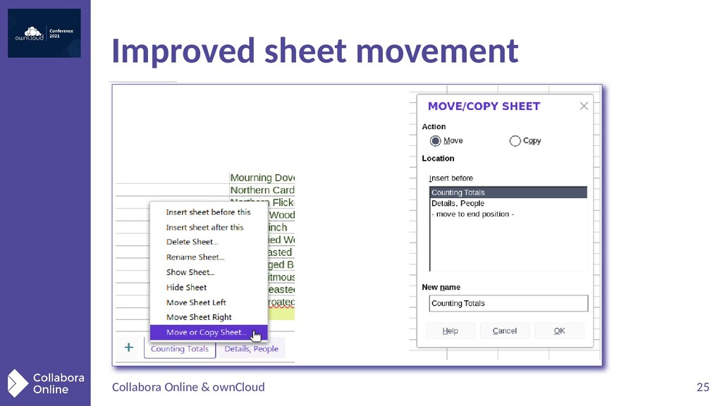 Collabora Online & ownCloud 25 Improved sheet m...