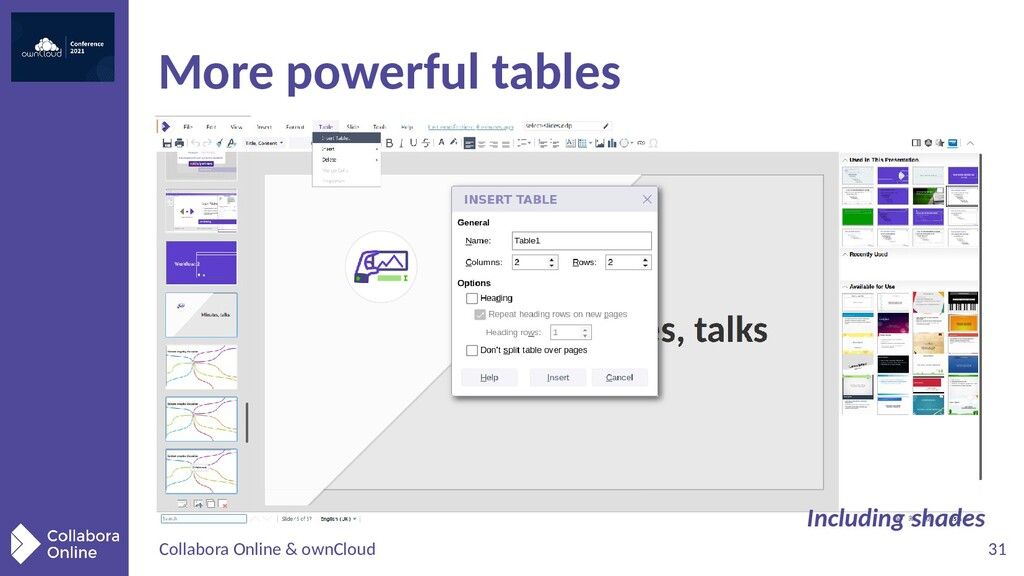 Collabora Online & ownCloud 31 More powerful ta...