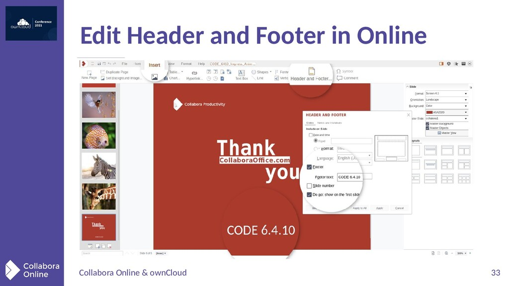 Collabora Online & ownCloud 33 Edit Header and ...
