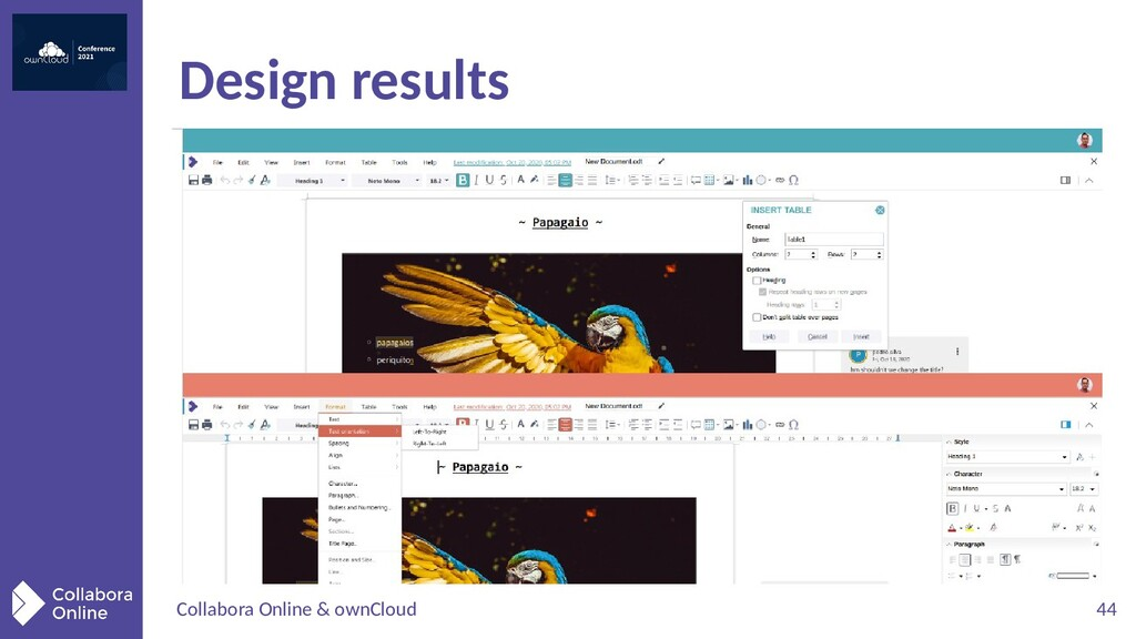 Collabora Online & ownCloud 44 Design results
