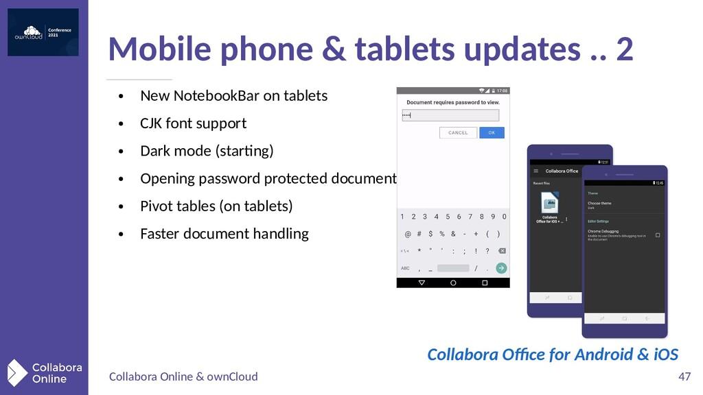Collabora Online & ownCloud 47 ● New NotebookBa...