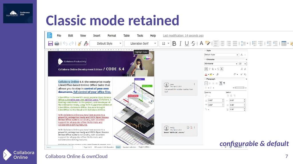 Collabora Online & ownCloud 7 Classic mode reta...
