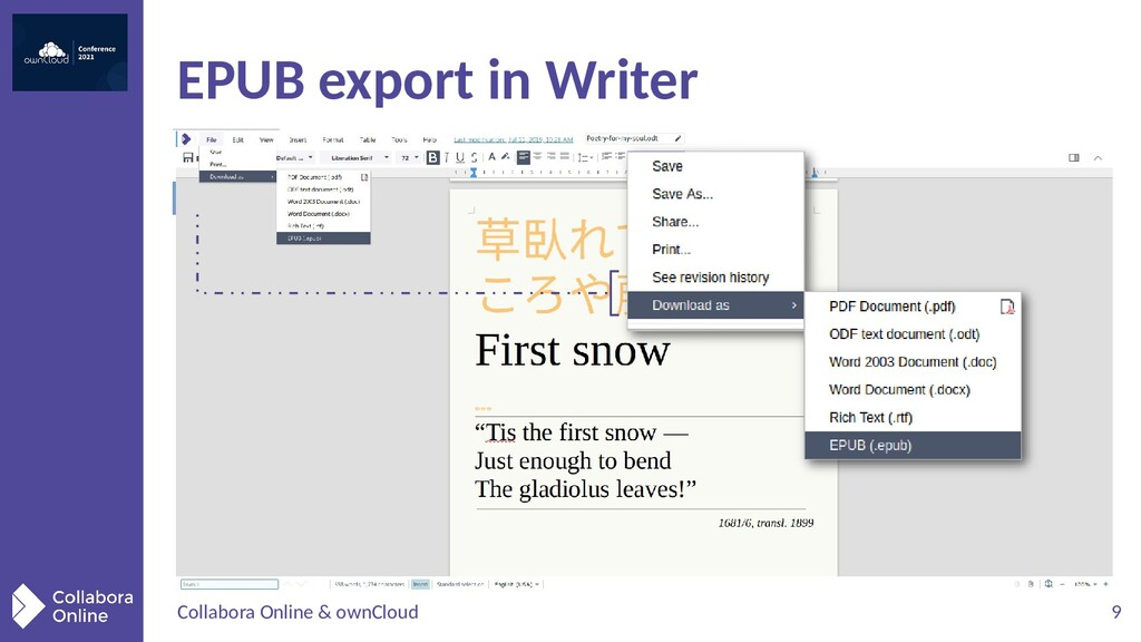 Collabora Online & ownCloud 9 EPUB export in Wr...