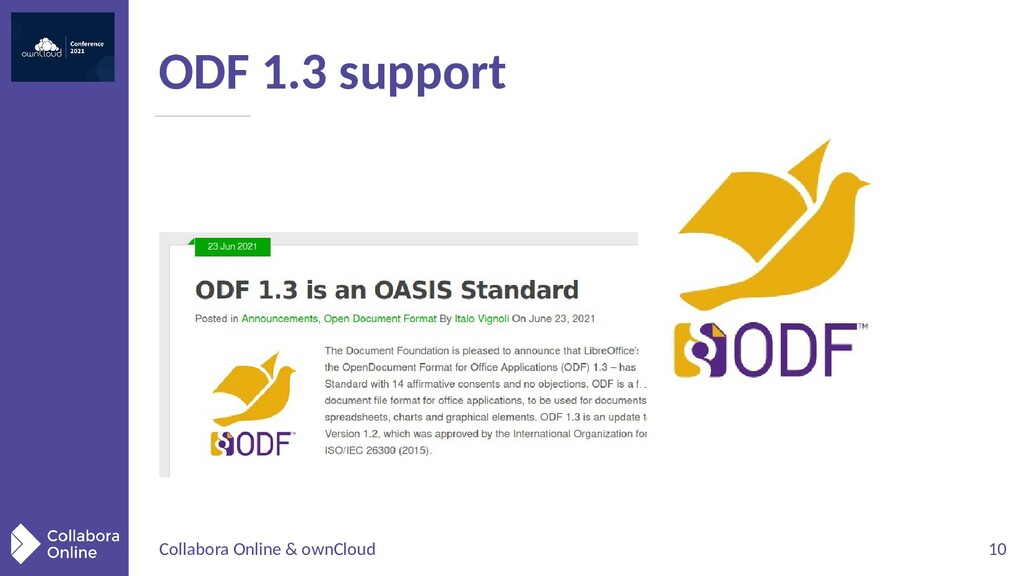 Collabora Online & ownCloud 10 ODF 1.3 support