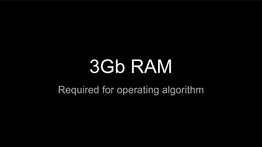 3Gb RAM Required for operating algorithm