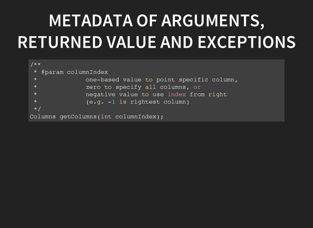 METADATA OF ARGUMENTS, RETURNED VALUE AND EXCEP...