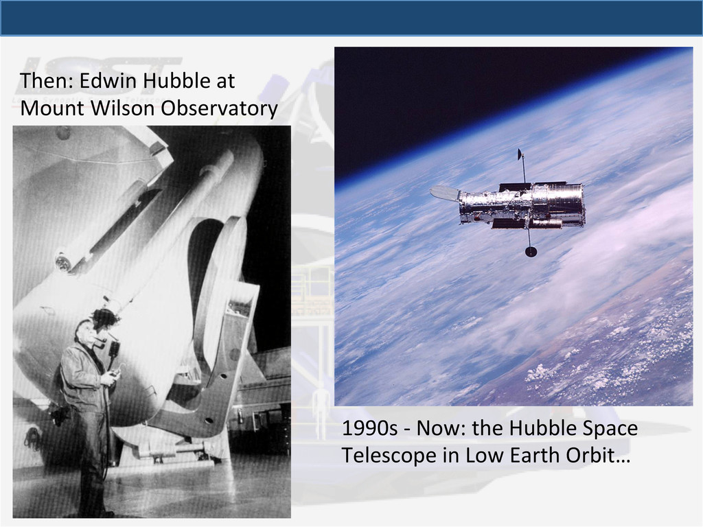 Then: Edwin Hubble at  Mount Wil...
