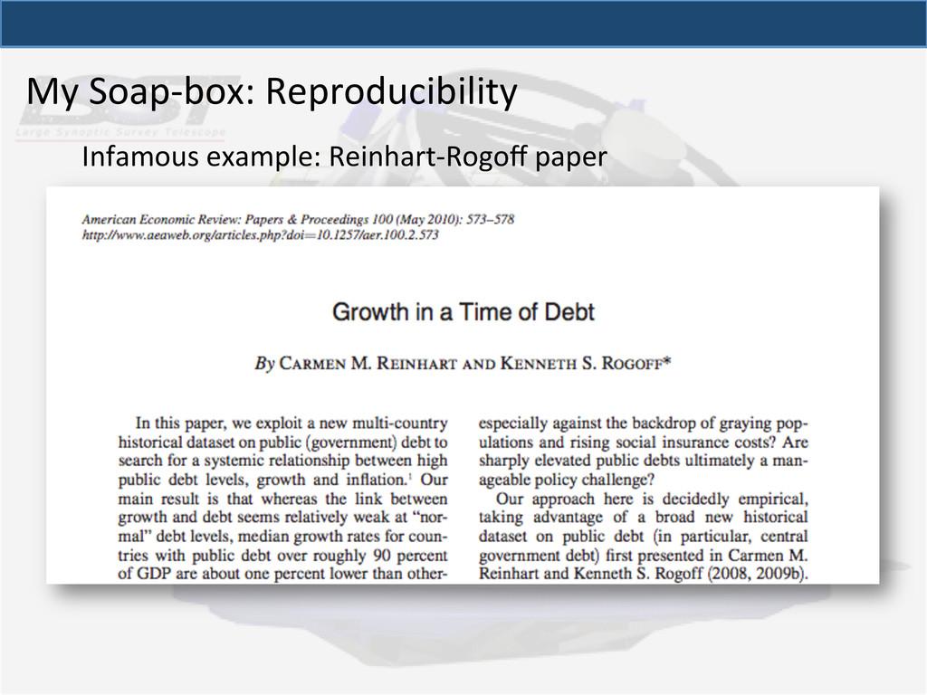 My Soap-‐box: Reproducibility  Infamo...