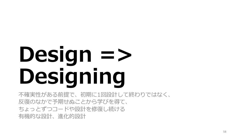 Design => Designing 不確実性がある前提で、初期に1回設計して終わりではなく...