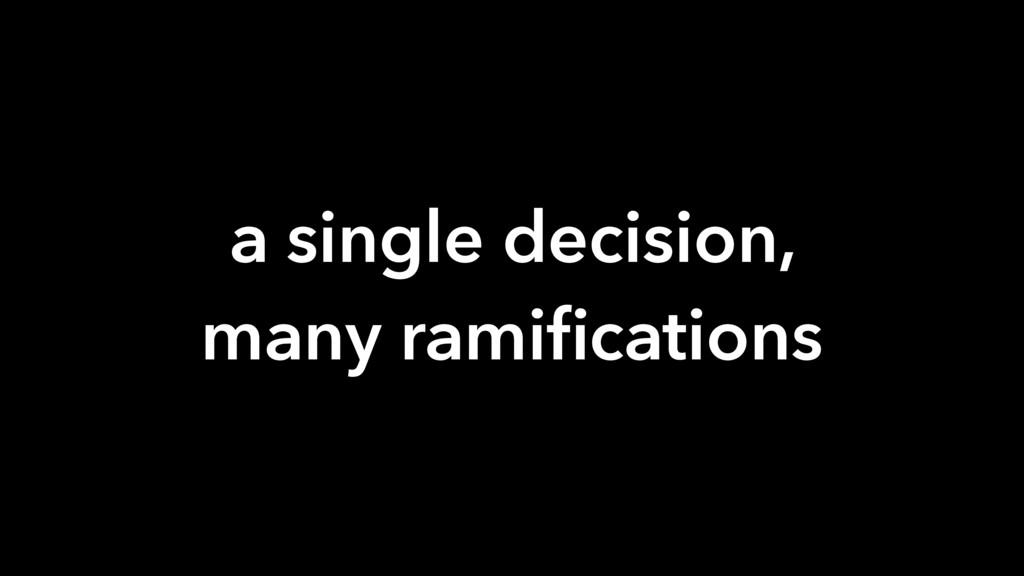 a single decision, many ramifications