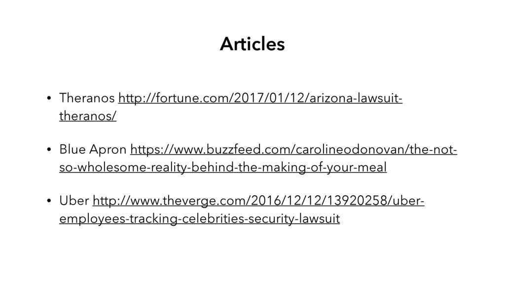 • Theranos http://fortune.com/2017/01/12/arizon...