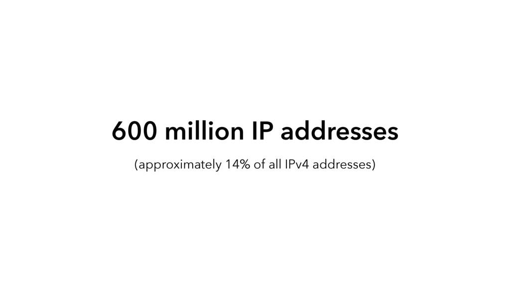 600 million IP addresses (approximately 14% of ...