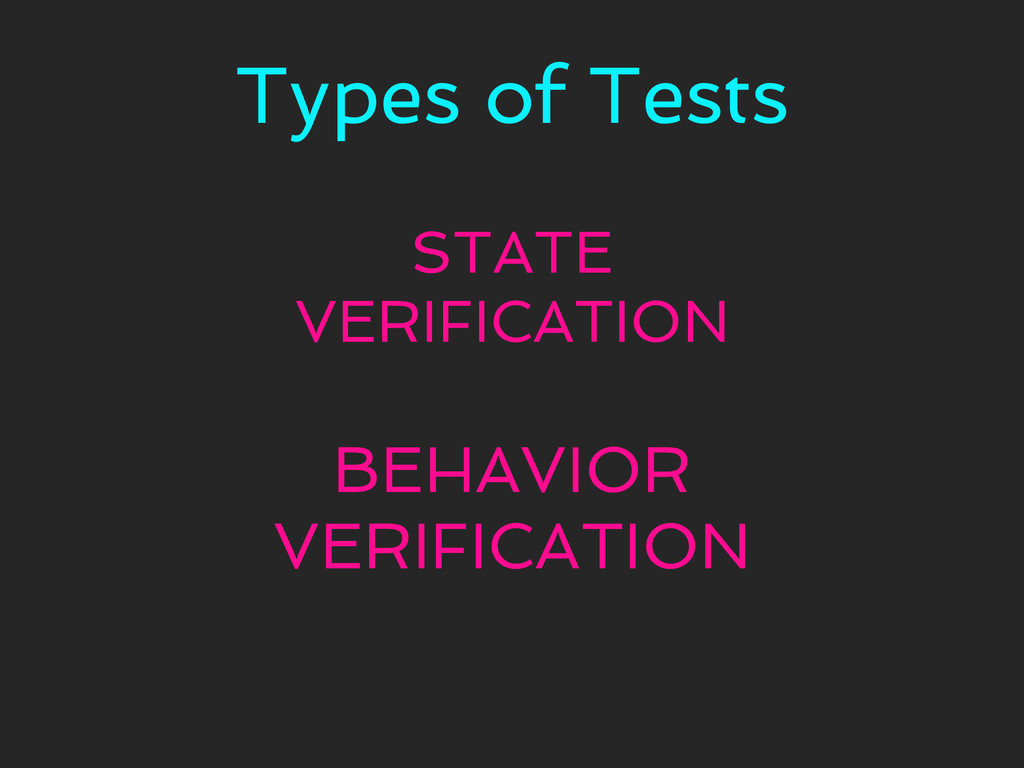 Types of Tests STATE VERIFICATION BEHAVIOR VERI...