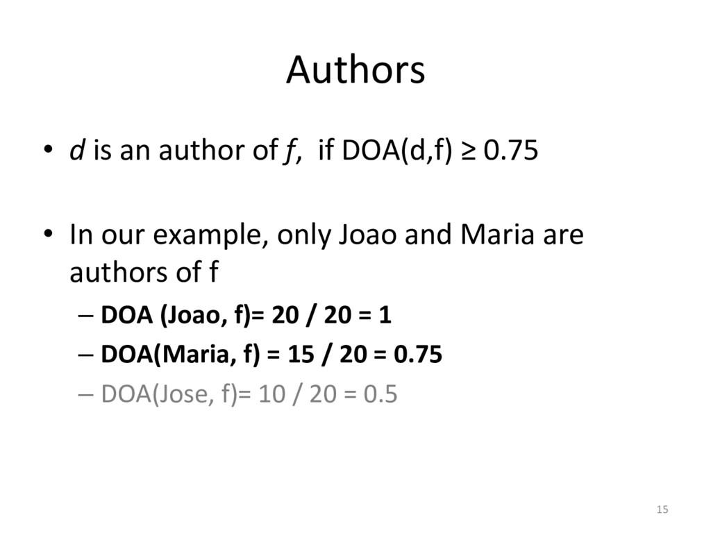 Authors  • d is an author of ...