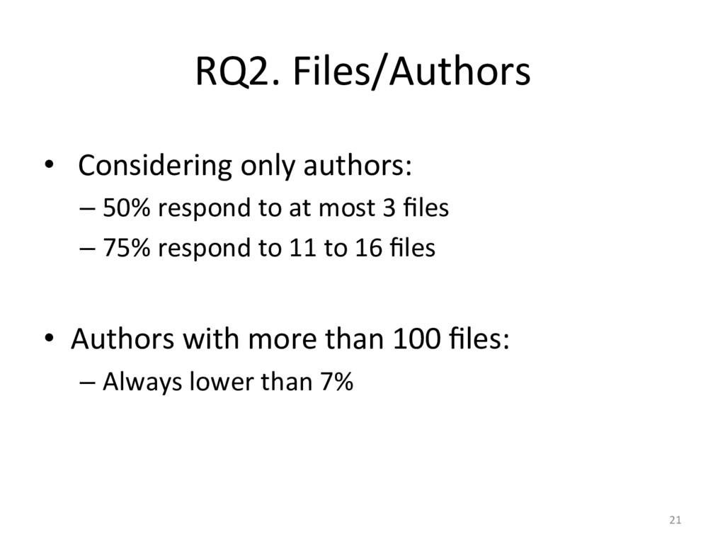 RQ2. Files/Authors  •  Considering ...