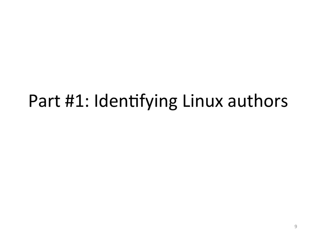 Part #1: IdenOfying Linux authors...