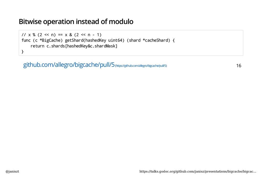 Bitwise operation instead of modulo // x % (2 <...