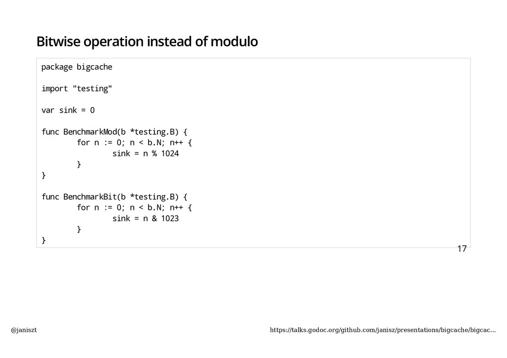 Bitwise operation instead of modulo package big...