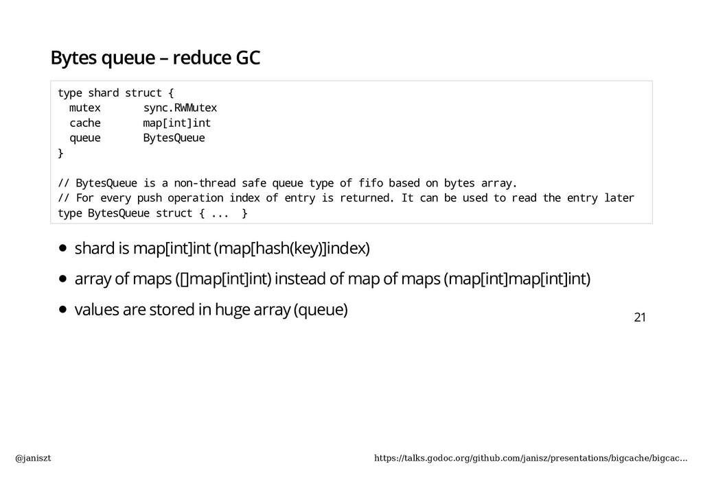 Bytes queue – reduce GC type shard struct { mut...
