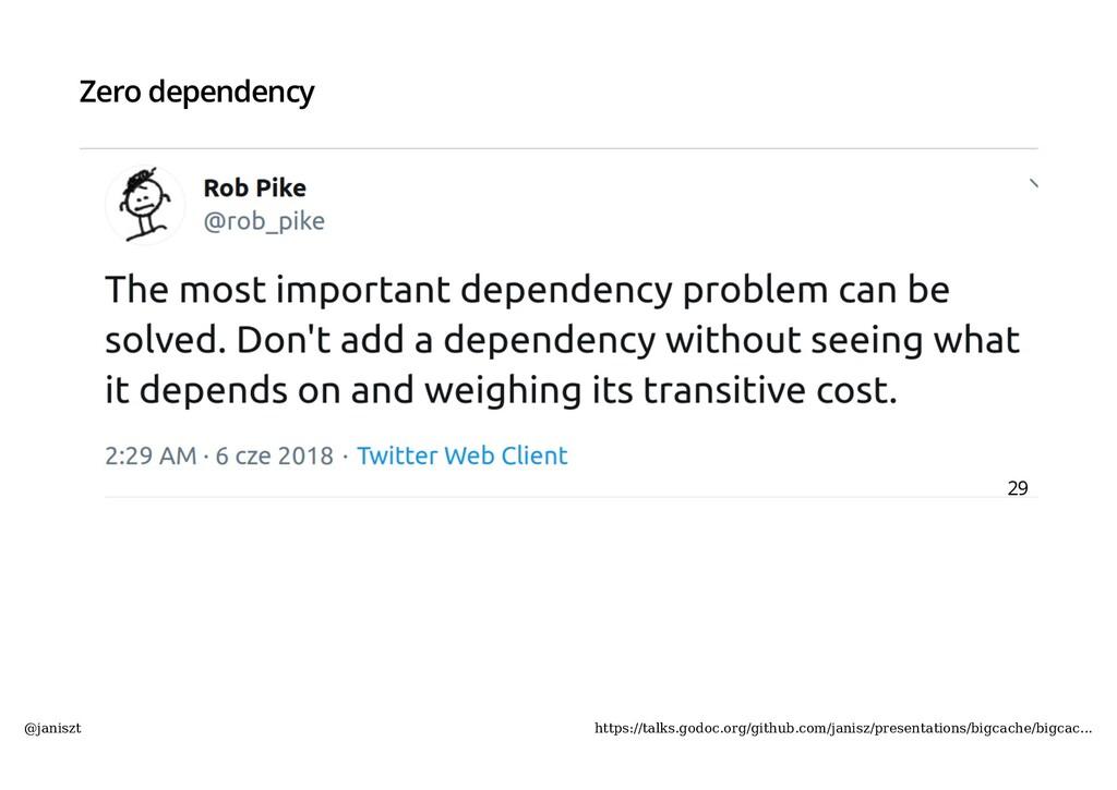 Zero dependency 29 @janiszt https://talks.godoc...
