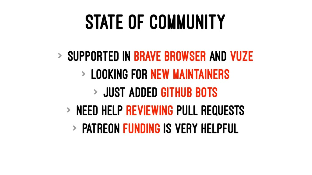 STATE OF COMMUNITY > Supported in Brave Browser...