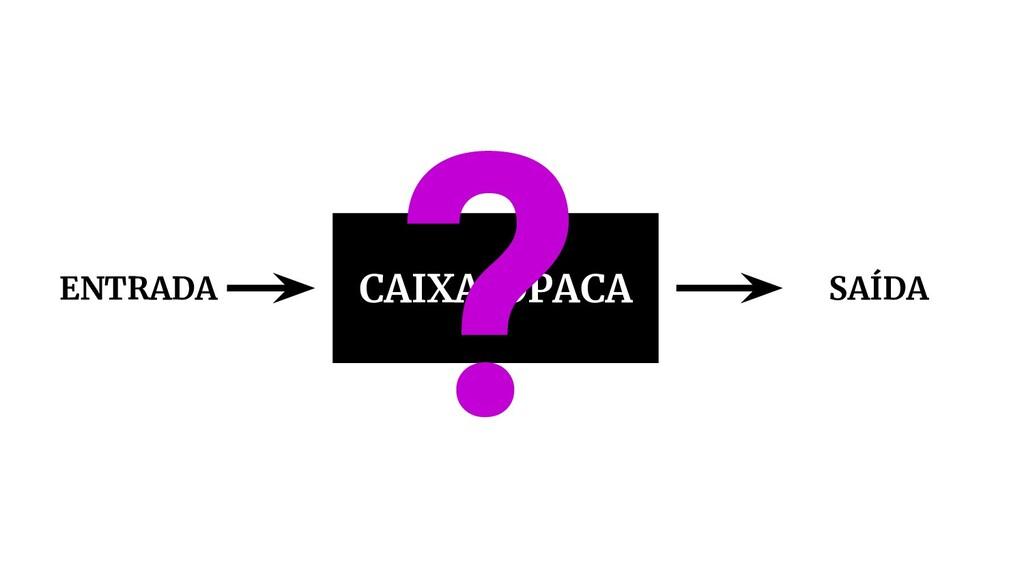 CAIXA OPACA ENTRADA SAÍDA ?