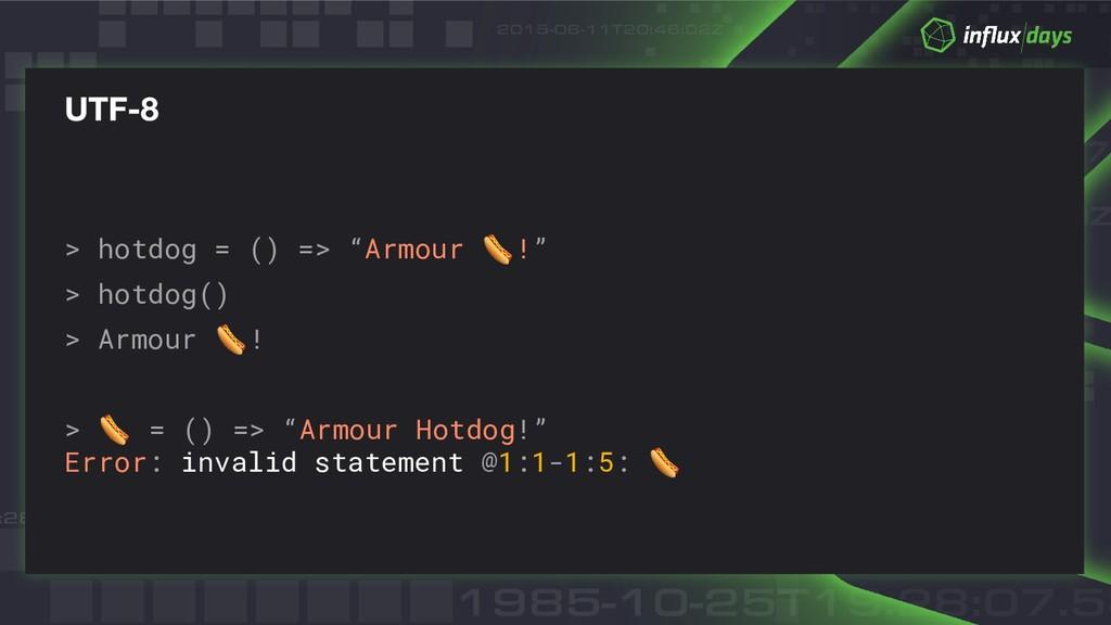 """> hotdog = () => """"Armour !"""" > hotdog() > Armour..."""