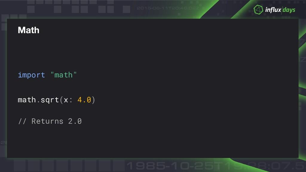"import ""math"" math.sqrt(x: 4.0) // Returns 2.0"