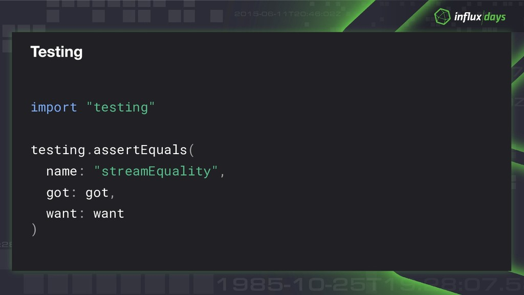 "import ""testing"" testing.assertEquals( name: ""s..."