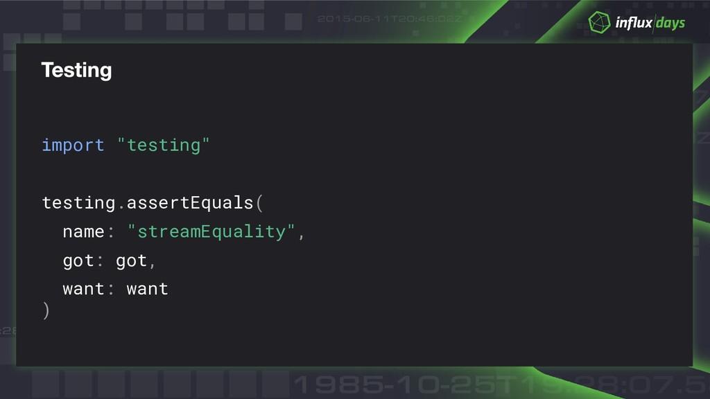 "import ""testing"" testing.assertEquals( name: ""s..."