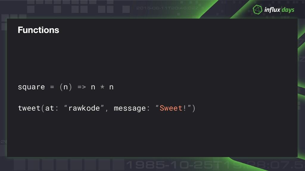 """square = (n) => n * n tweet(at: """"rawkode"""", mess..."""