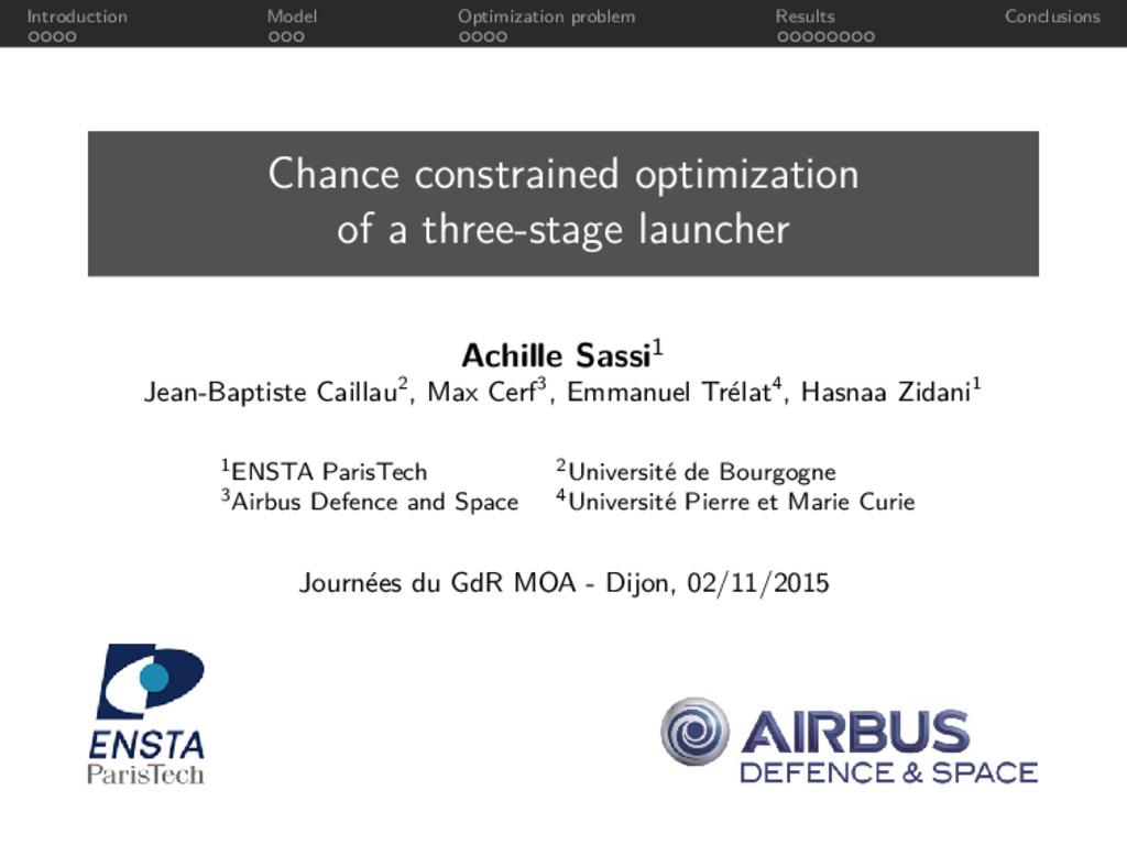 Introduction Model Optimization problem Results...