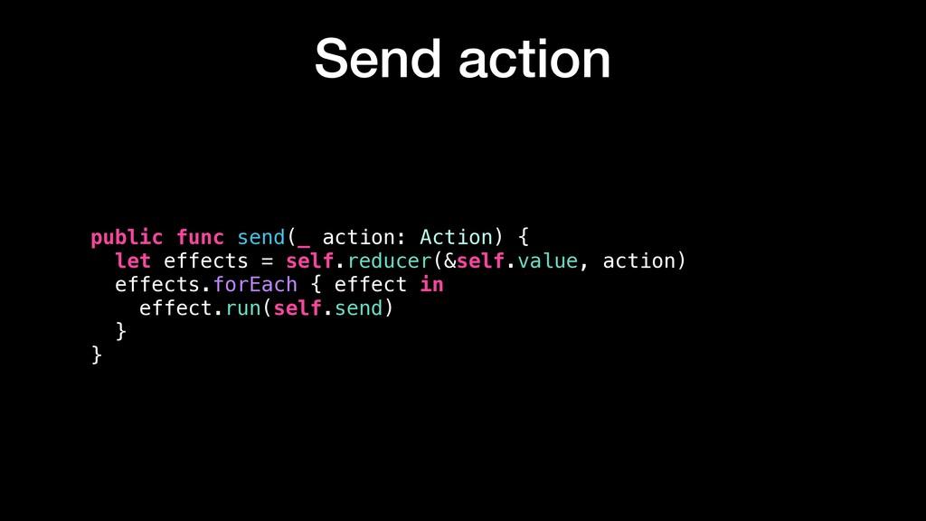 Send action public func send(_ action: Action) ...