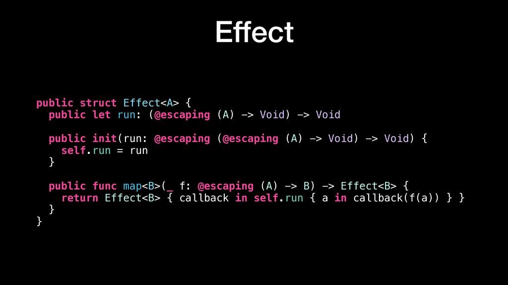 Effect public struct Effect<A> { public let run...