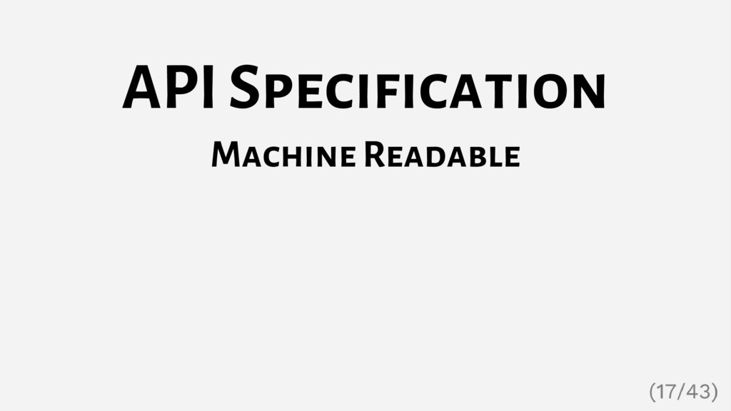 API Specification Machine Readable