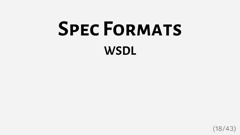 Spec Formats WSDL