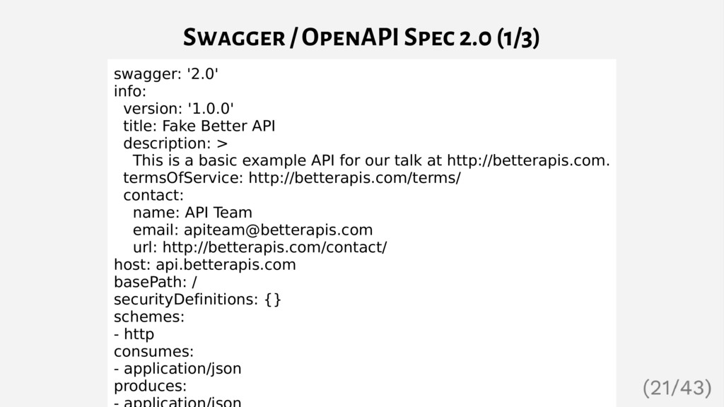 Swagger / OpenAPI Spec 2.0 (1/3) swagger: '2.0'...