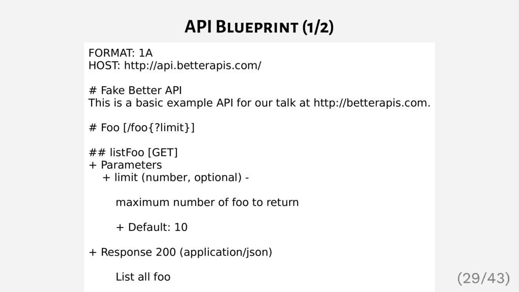 API Blueprint (1/2) FORMAT: 1A HOST: http://api...