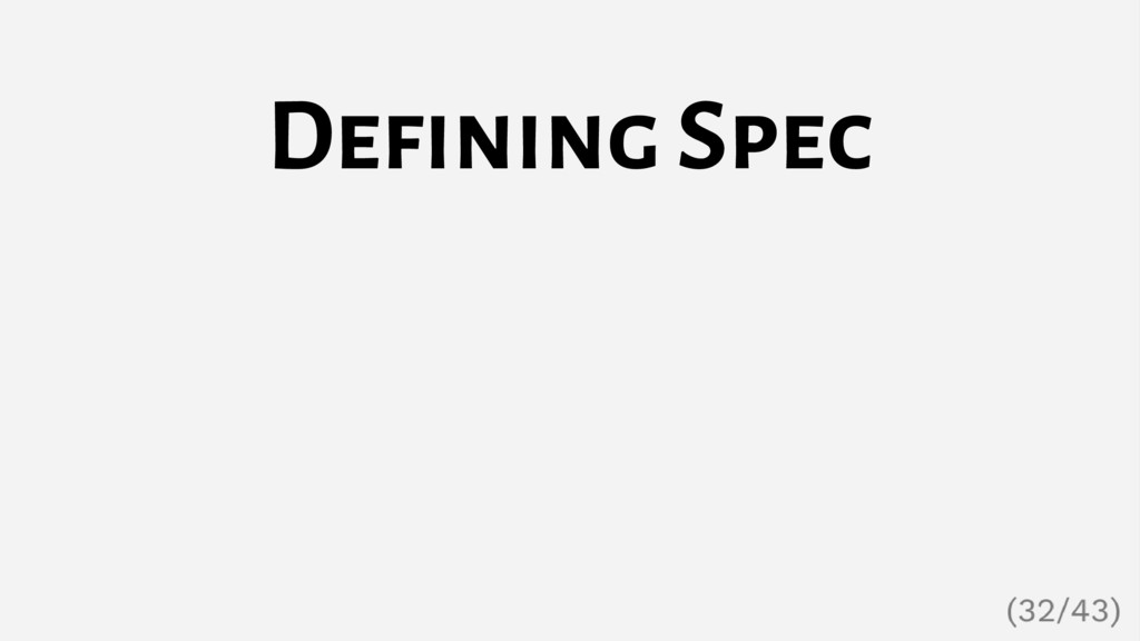 Defining Spec
