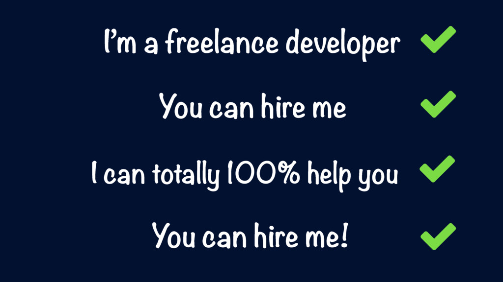 I'm a freelance developer You can hire me I can...