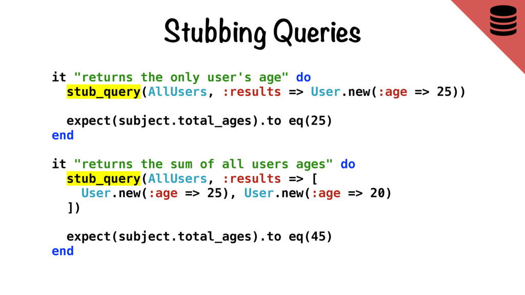 """Stubbing Queries  it """"returns the only user's ..."""