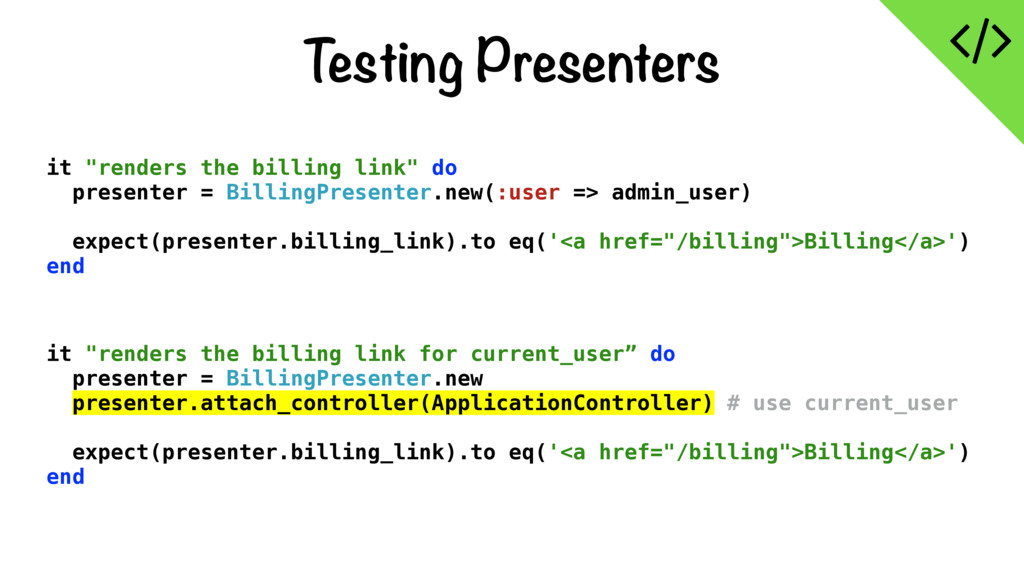 """Testing Presenters it """"renders the billing link..."""