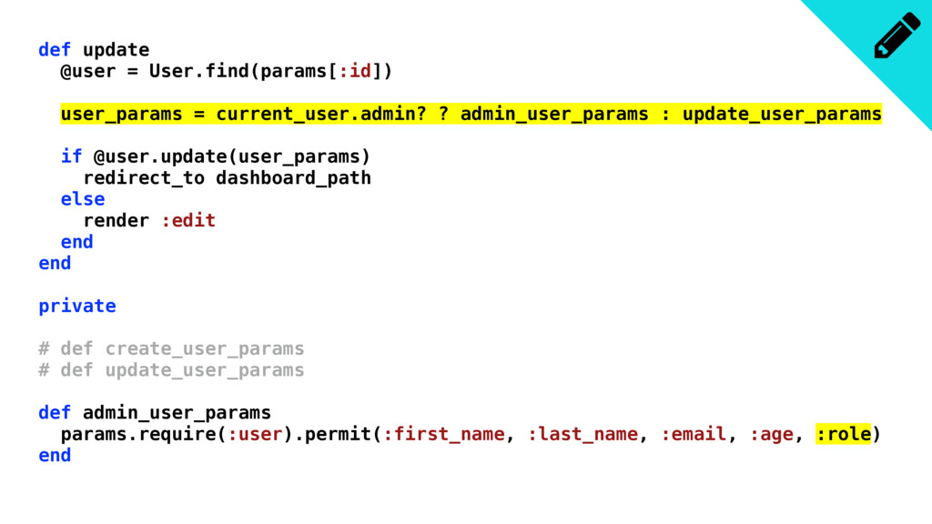 def update @user = User.find(params[:id]) user_...